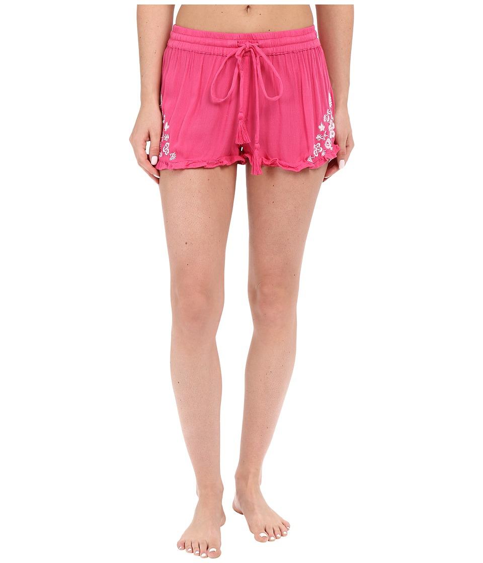 P.J. Salvage Embroidered Sleep Shorts Fuchsia Womens Pajama