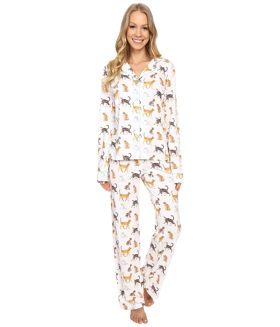 P.J. Salvage Cat Print PJ Set Ivory Womens Pajama Sets