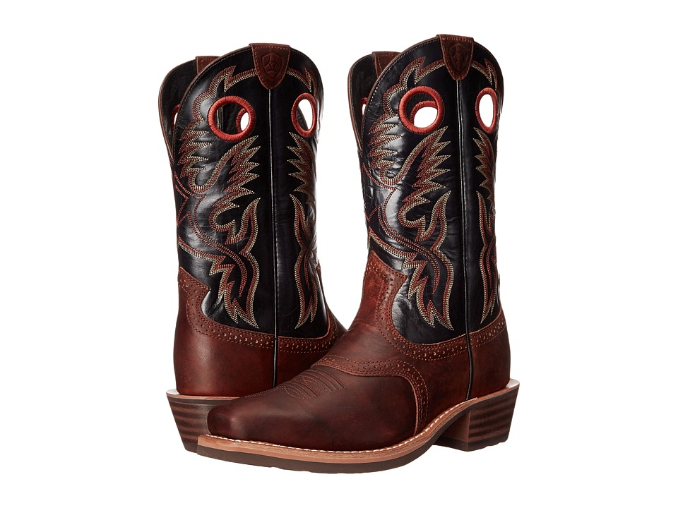 Ariat Heritage Roughstock (Bar Top Brown/Shiny Black) Cowboy Boots