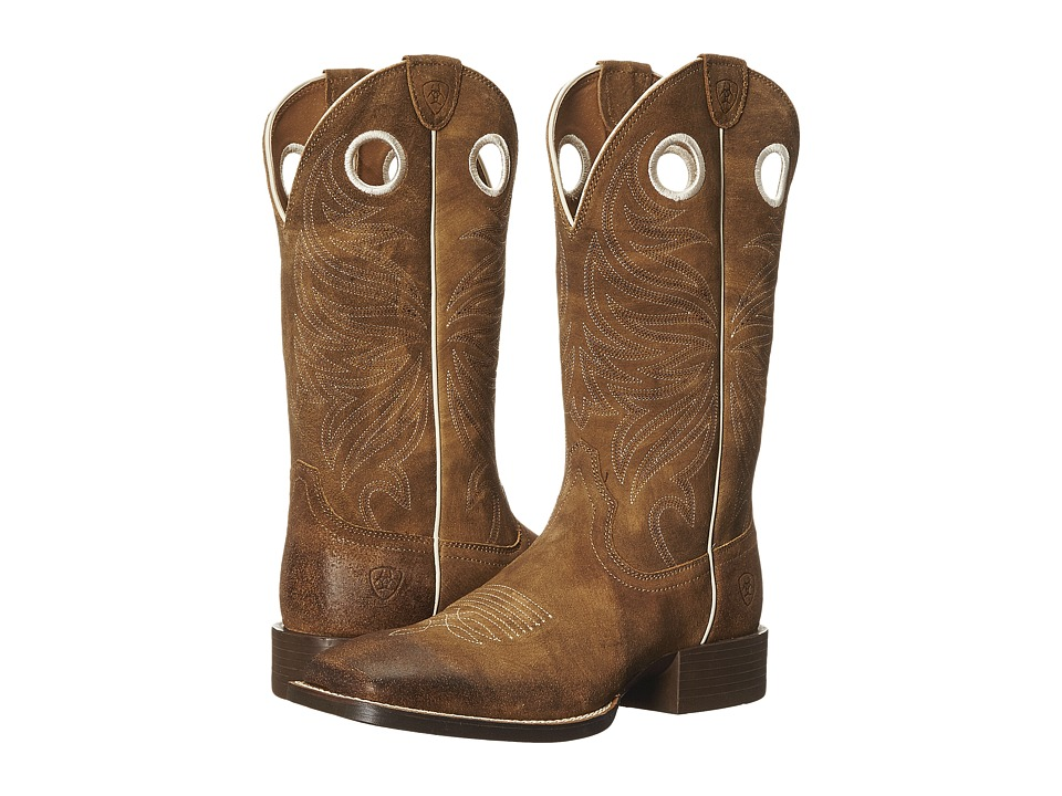 Ariat Sport Rider Wide Square Toe (Antique Mocha Suede) Cowboy Boots