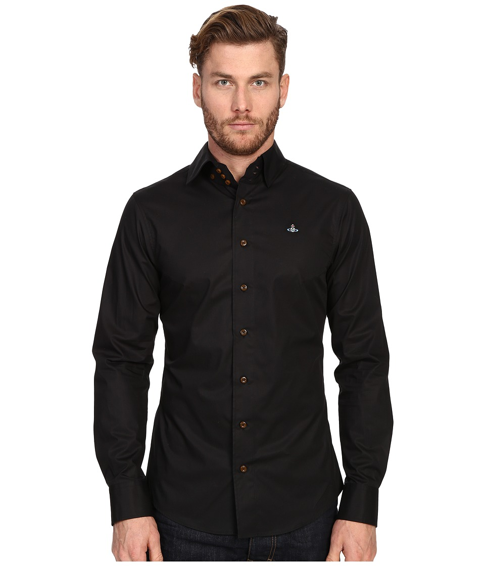 Vivienne Westwood Stretch Classic Krall Shirt Black Mens Long Sleeve Button Up