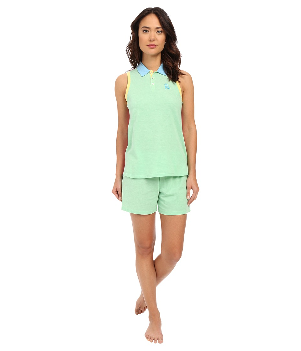 LAUREN Ralph Lauren Color Block V Neck Henley Boxer Pajama Set Green Womens Pajama Sets