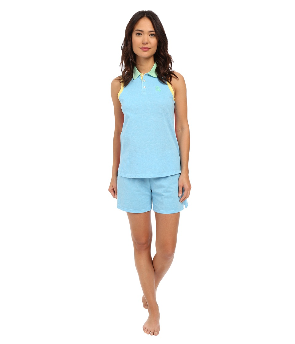 LAUREN Ralph Lauren Color Block V Neck Henley Boxer Pajama Set Turquoise Womens Pajama Sets