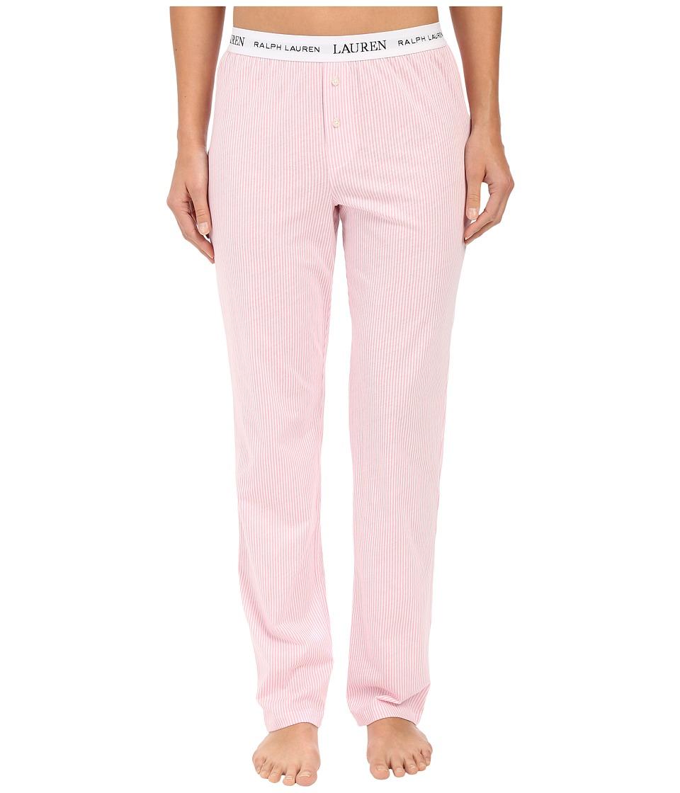 LAUREN Ralph Lauren - Pants w/ Logo Elastic (Stripe Pale Pink/White) Womens Pajama