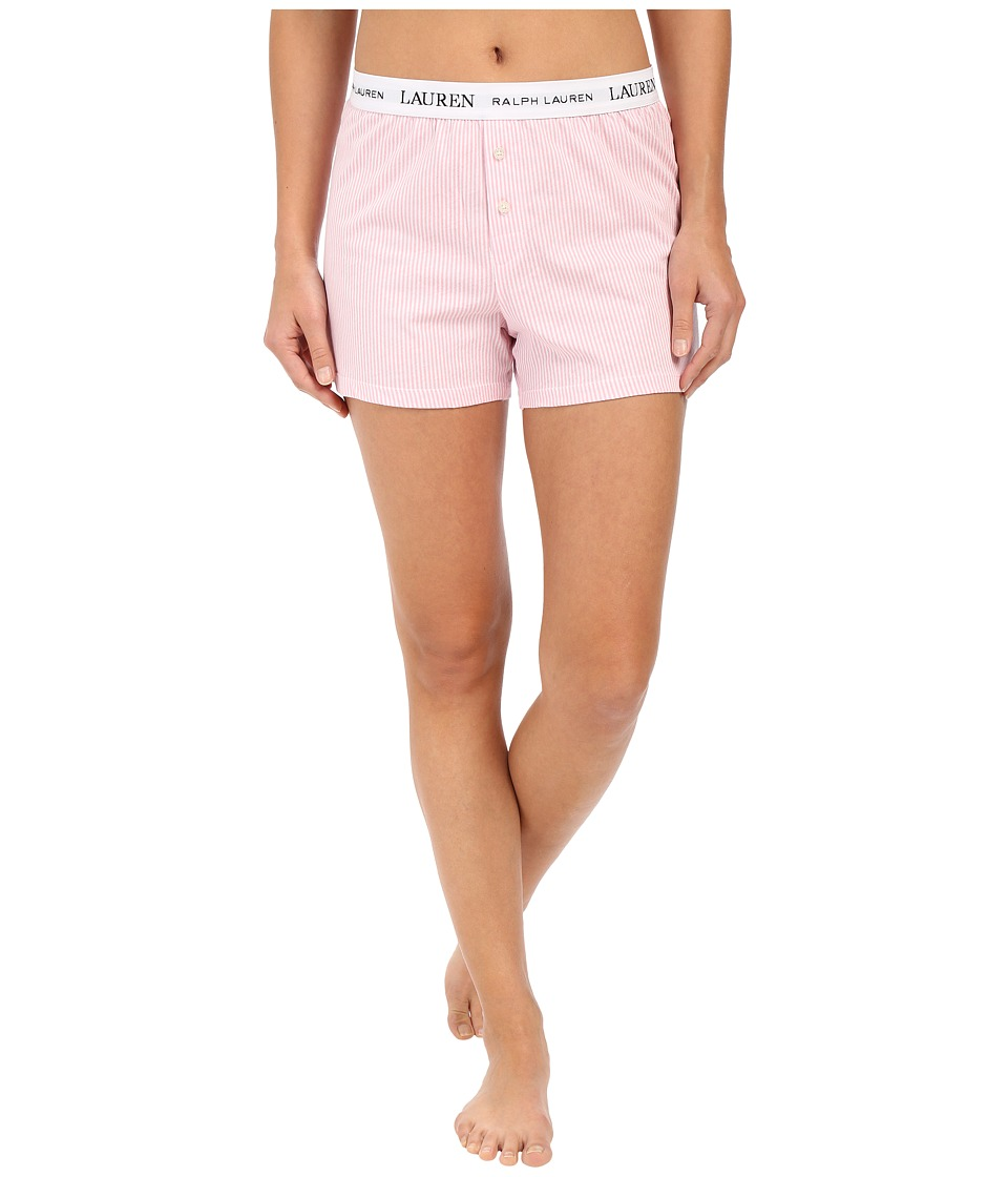 LAUREN Ralph Lauren - Boxer Briefs with Logo Elastic (Stripe Pale Pink/White) Womens Pajama