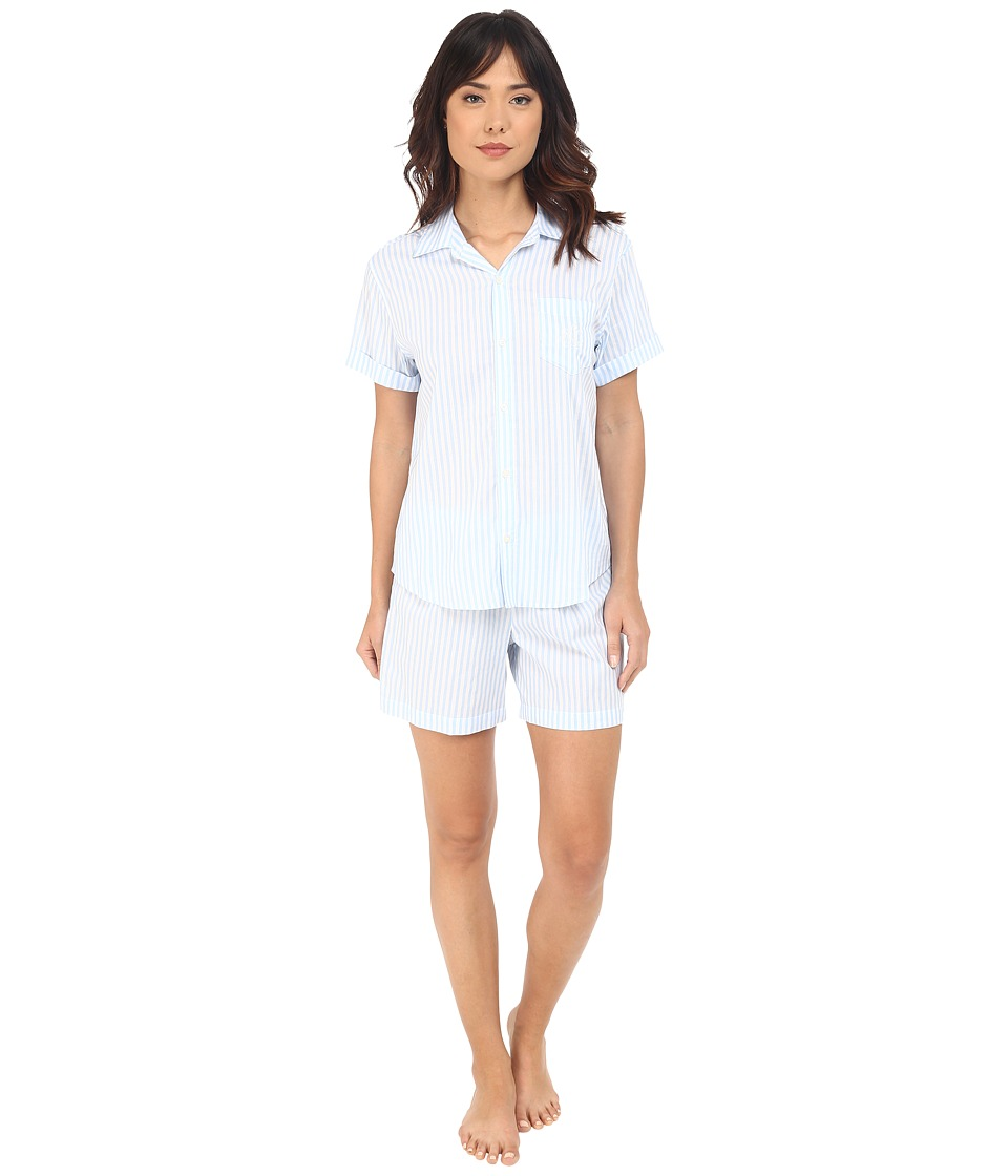 LAUREN Ralph Lauren Cotton Lawn Boxer Pajama Set Stripe Blue/White Womens Pajama Sets
