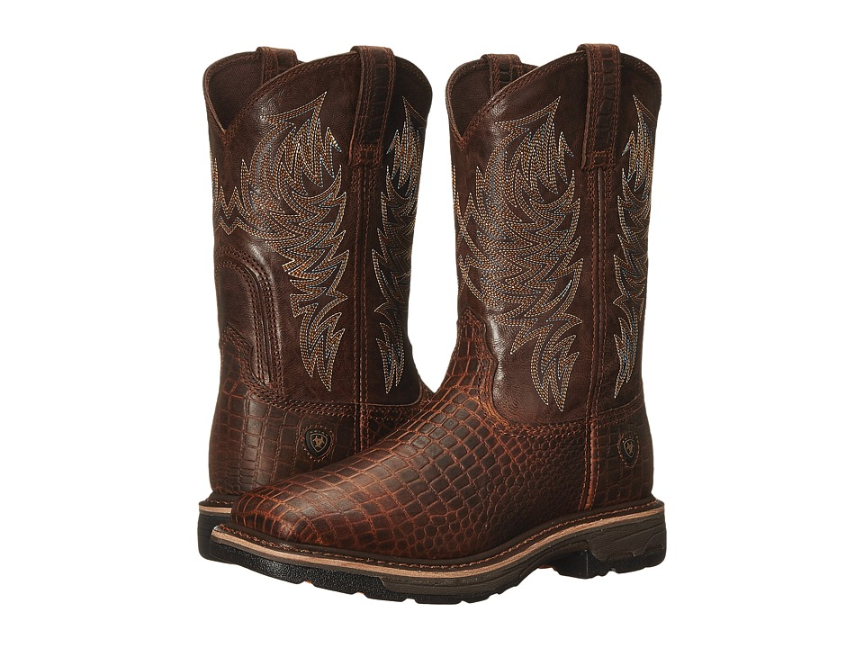 Ariat - Workhog Wide Square Toe (Brown Croco Print/Dark Chocolate) Mens Work Boots