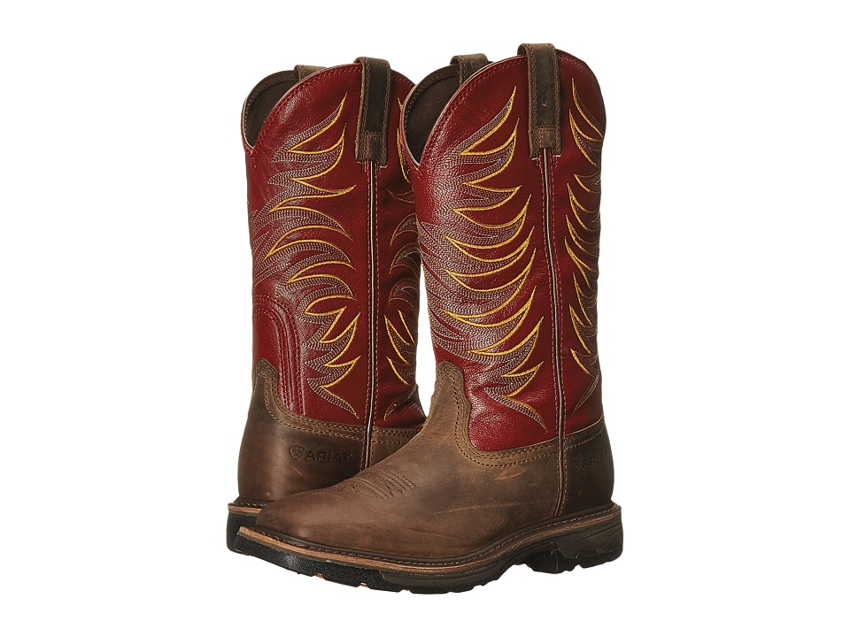 Ariat Workhog Wide Square Toe Tall II (Distressed Brown/Ruby Red) Men
