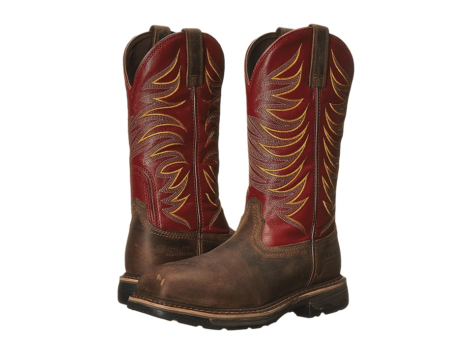Ariat Workhog Wide Square Toe Tall II Compositie Toe (Distressed Brown/Ruby Red) Men