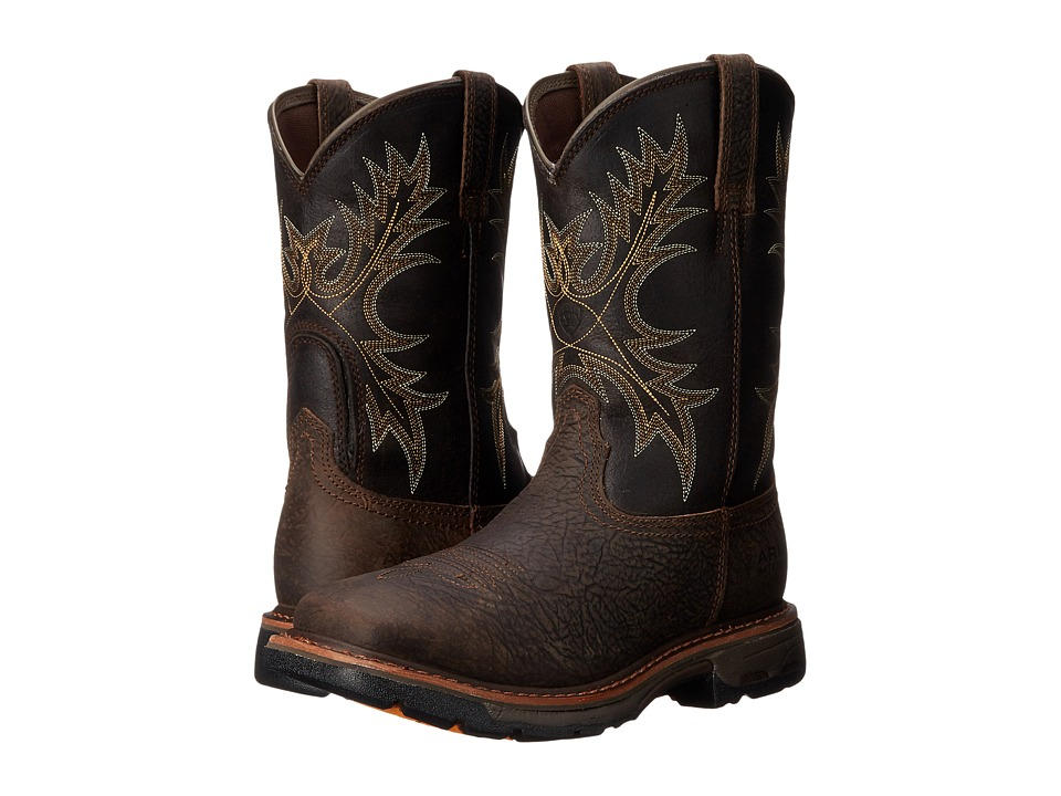 Ariat - Workhog Wide Square Toe H20 (Bruin Brown/Coffee) Cowboy Boots