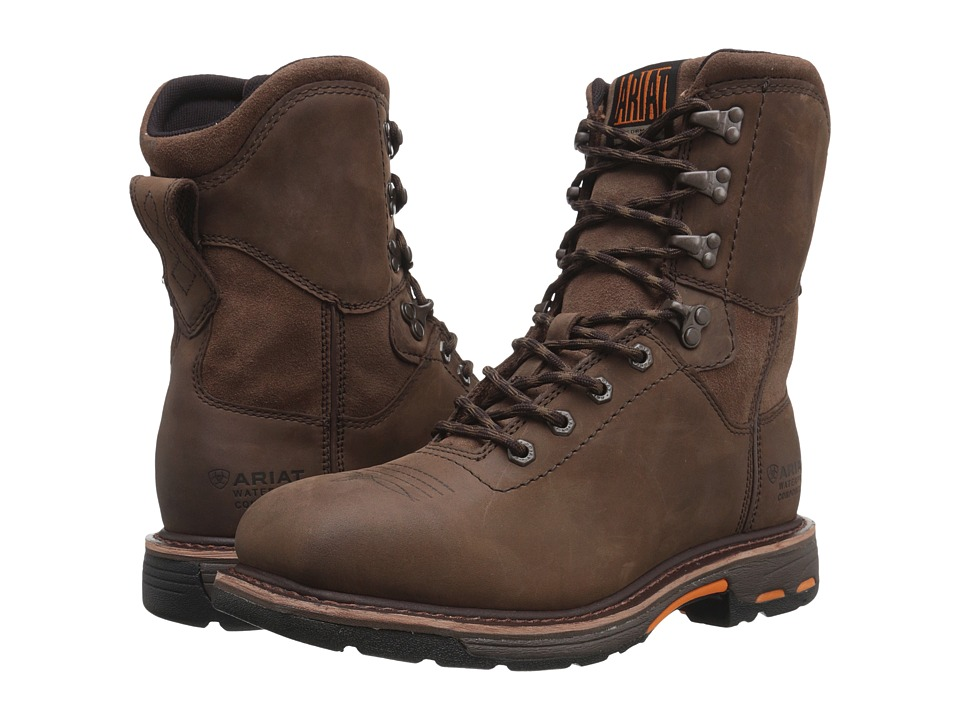 Ariat Workhog 8 Wide Square Toe H2O (Oily Distressed Brow...