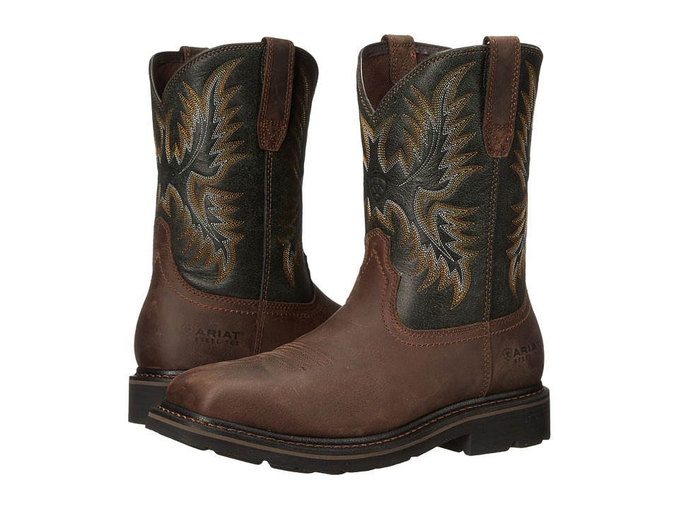 Ariat Sierra Wide Square Toe Steel Toe (Dark Brown/Pine G...
