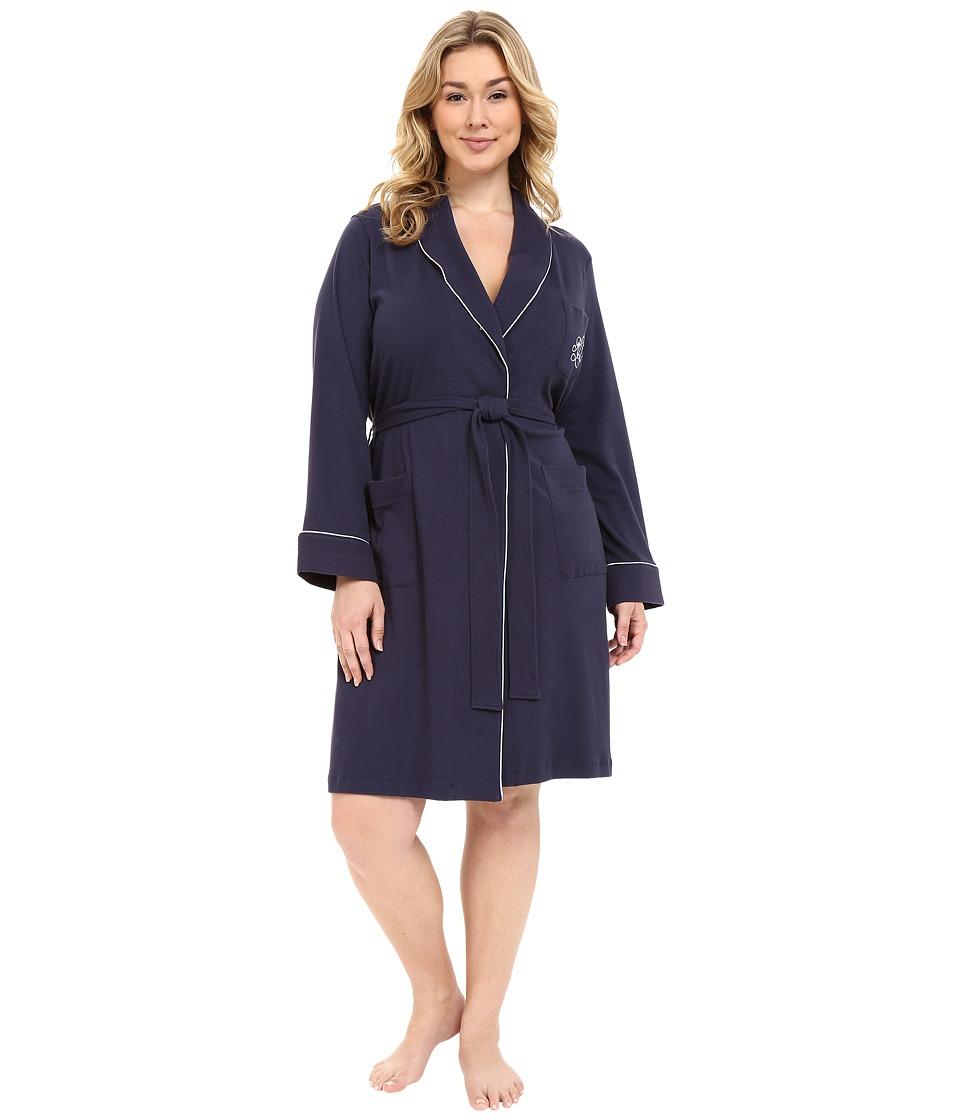 LAUREN Ralph Lauren - Plus Size Essentials Quilted Collar and Cuff Robe (Navy) Womens Robe