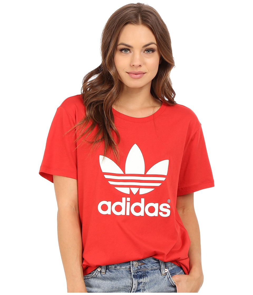 adidas Originals Boyfriend Trefoil Tee Lush Red/White Womens T Shirt