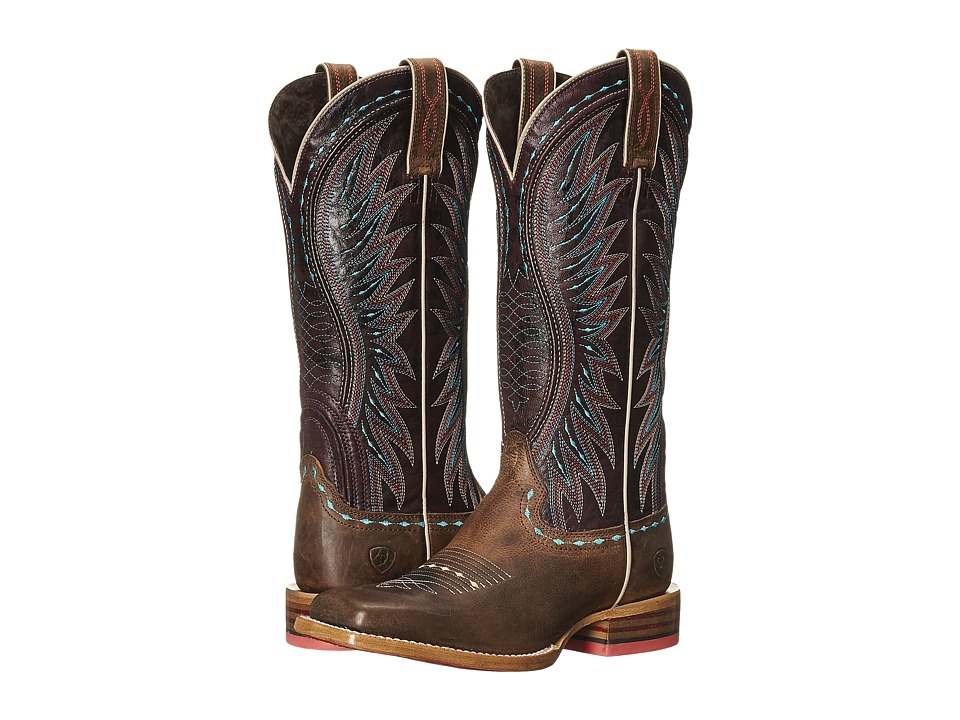 AriatVaquera  (Khaki-Sunset Purple) Cowboy Boots
