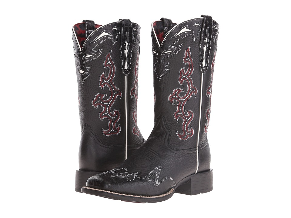 Ariat Sidekick (Black Deertan/Black Empire Alligator Print) Cowboy Boots