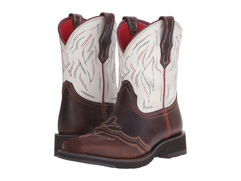 Ariat Ranchbaby II (Pecan/White Crackle) Cowboy Boots