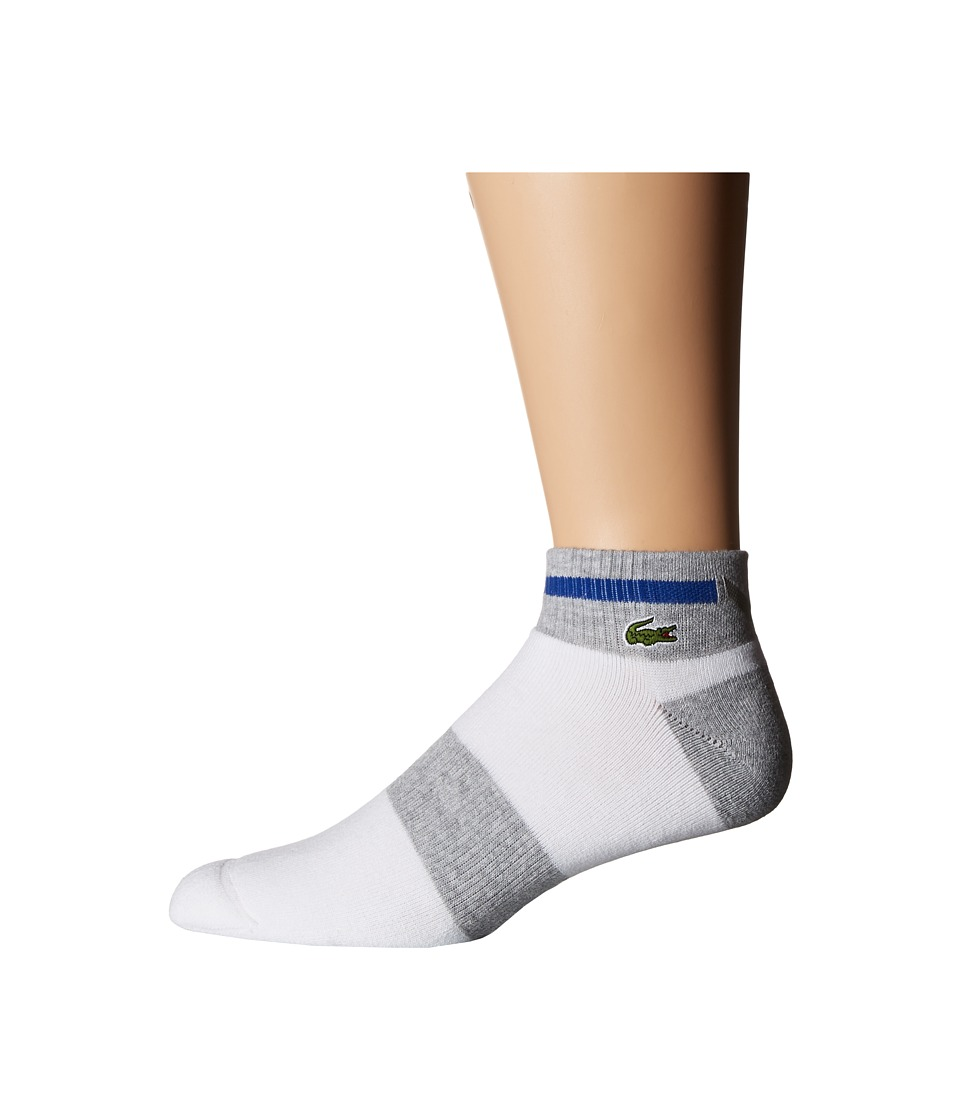 Lacoste Sport Compression Ped Sock White/Silver Chine/Royal Mens Quarter Length Socks Shoes