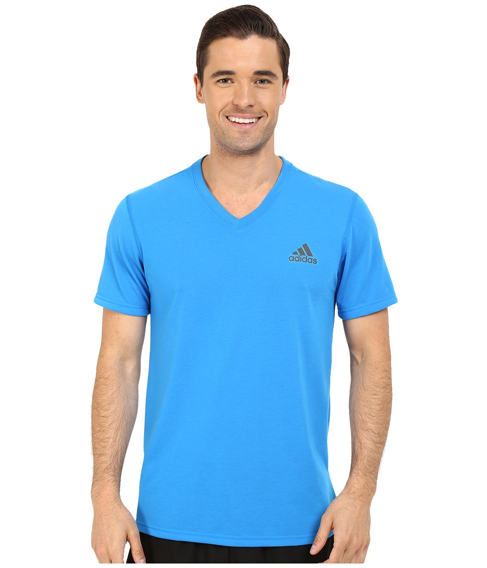 adidas Ultimate S/S V Neck Tee Shock Blue/Dark Grey Heather Solid Grey Mens T Shirt