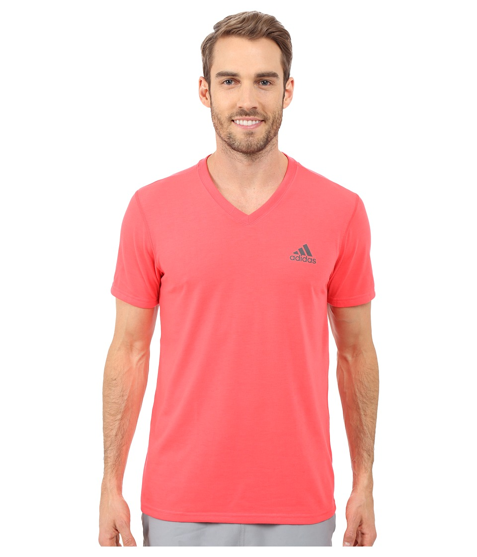 adidas Ultimate S/S V Neck Tee Shock Red/Dark Grey Heather Solid Grey Mens T Shirt