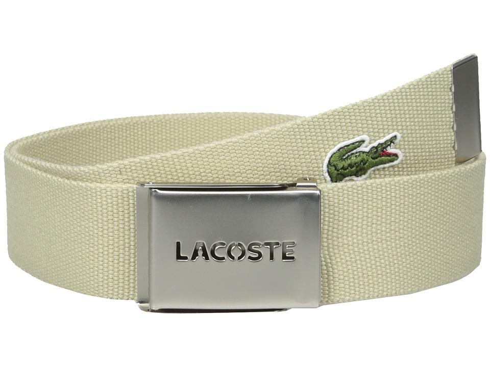 Lacoste 40mm Gift Box Woven Strap Raffia Tan Mens Belts