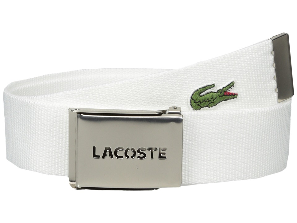 Lacoste 40mm Gift Box Woven Strap Bright White Mens Belts