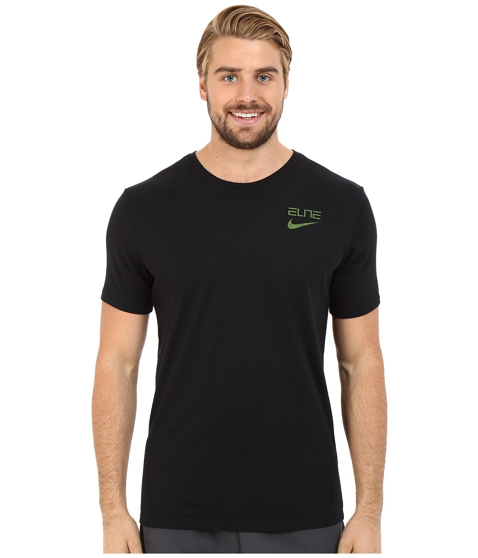 Nike Elite Back Stripe Tee (Black/Volt) Men