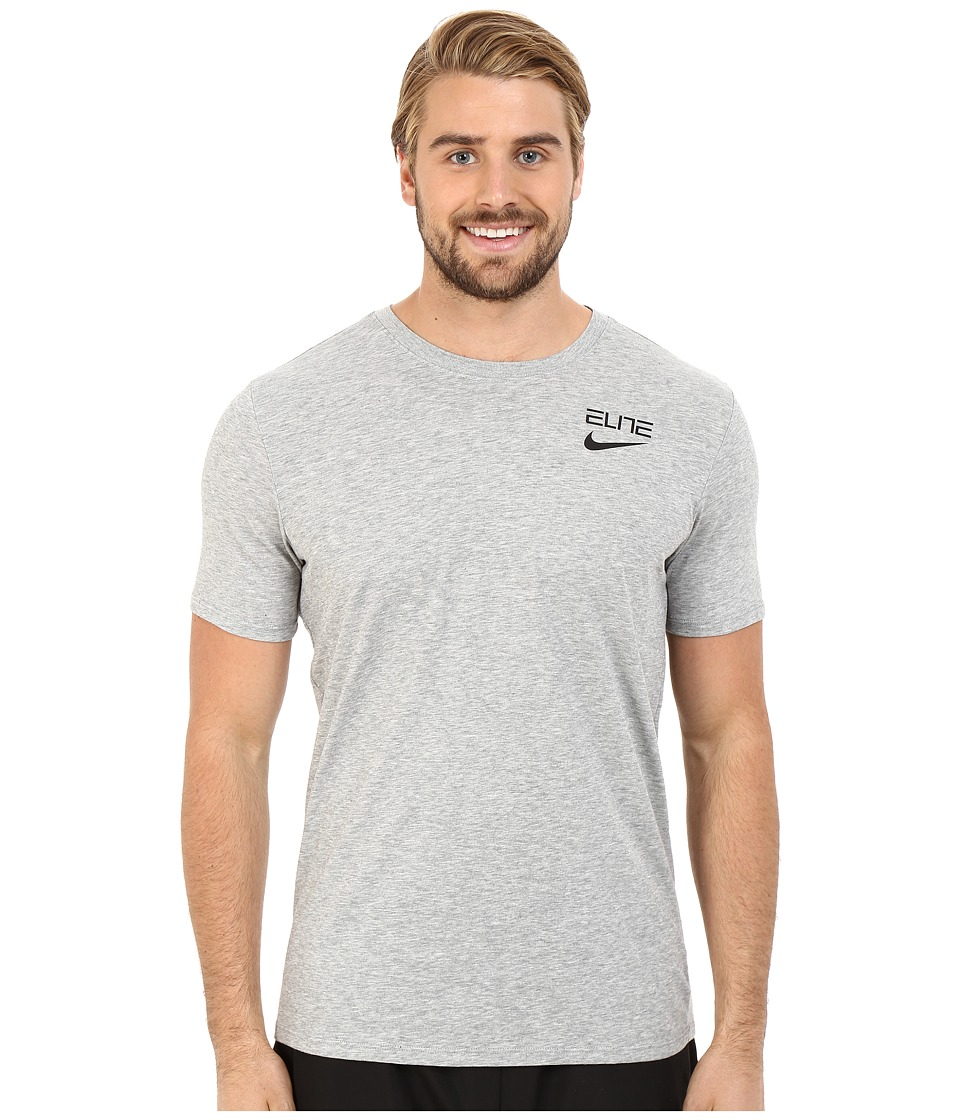 Nike Elite Back Stripe Tee (Dark Grey Heather) Men