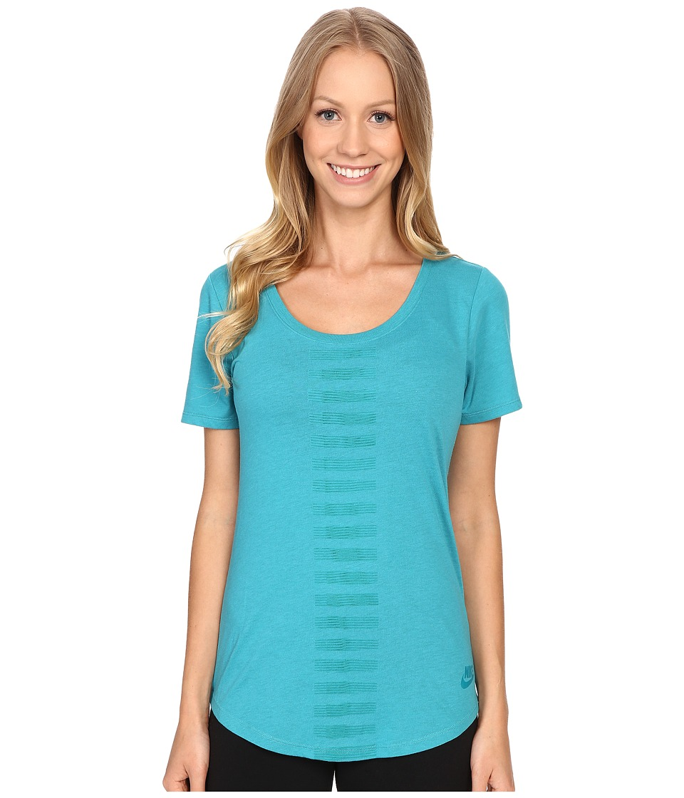 Nike - Scoop Frequency Burnout Tee (Omega Blue) Women