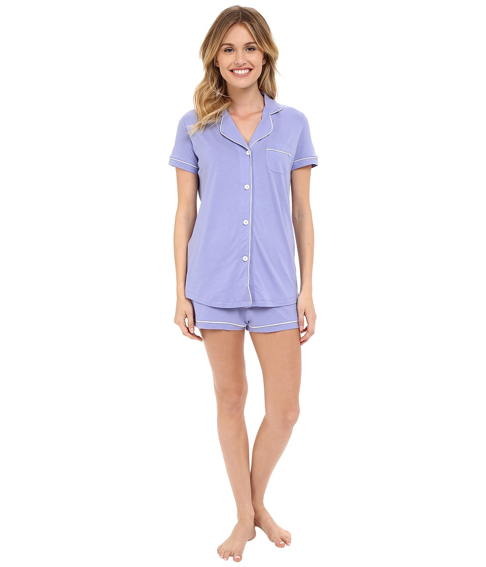 Cosabella Bella S/S Top Boxer Pajama Set Purple Sky/White Womens Pajama Sets
