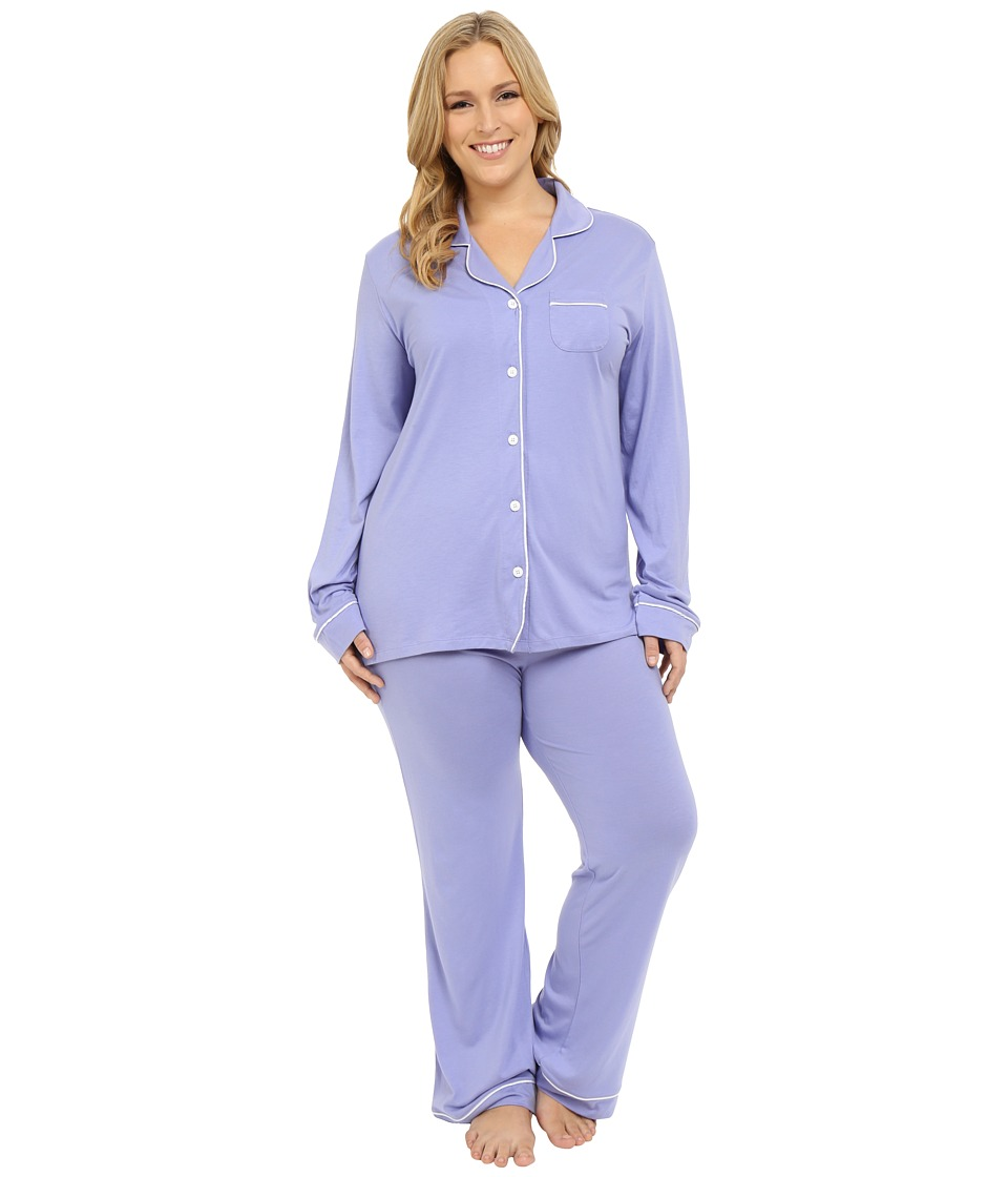 Cosabella Plus Size Bella PJ Long Sleeve Top and Pants PJ Set Purple Sky/White Womens Pajama Sets