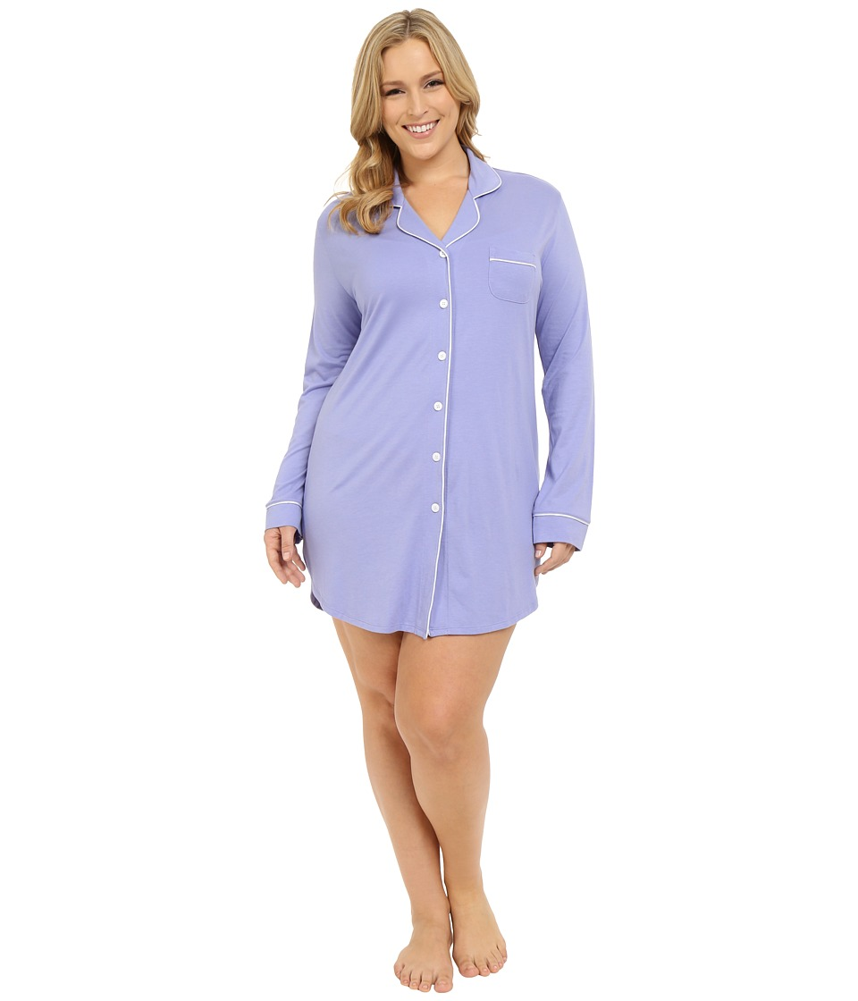 Cosabella Plus Size Bella Plus Nightshirt Purple Sky/White Womens Pajama