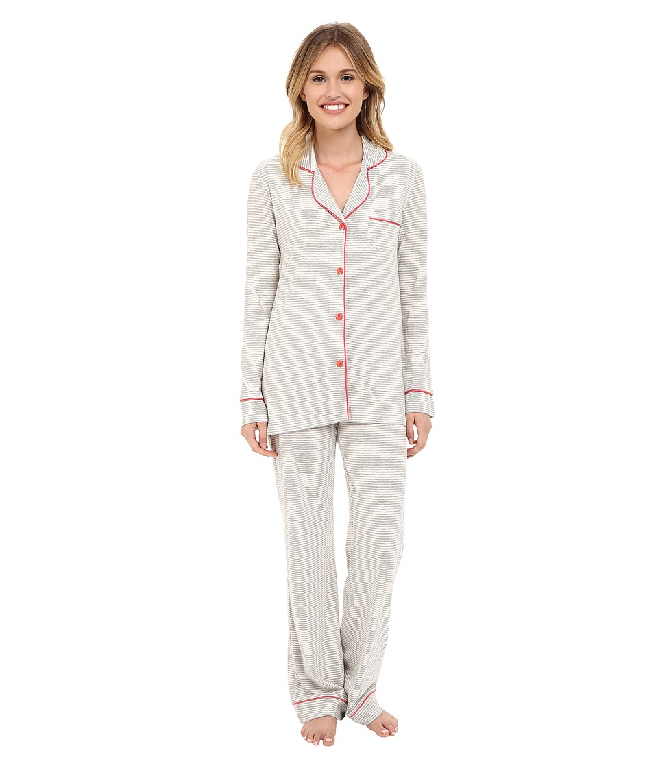 Cosabella Bella Texture Long Sleeve Top and Pants AMORS9641 Heather Grey/Geranium Pink Womens Pajama Sets