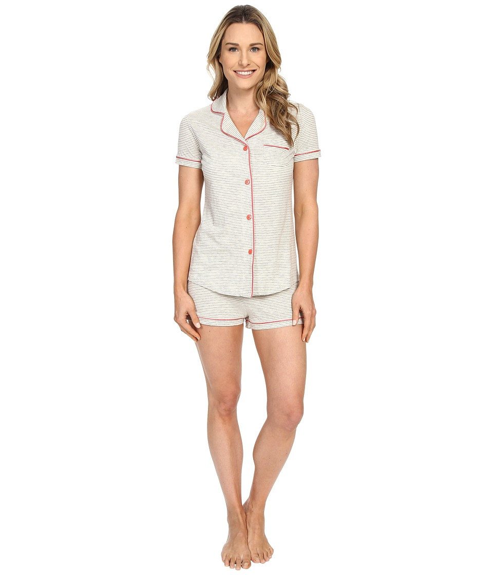 Cosabella Bella Texture Short Sleeve Top and Boxer Pajama AMORS9621 Heather Grey/Geranium Pink Womens Pajama Sets