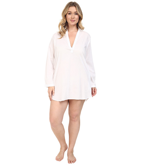 Yummie by Heather Thomson Plus Size Cotton Viole Mandarin Collar Nightshirt