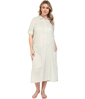 Yummie by Heather Thomson - Plus Size Cotton Voile Mandarin Button Down Dress w/ Side Vents