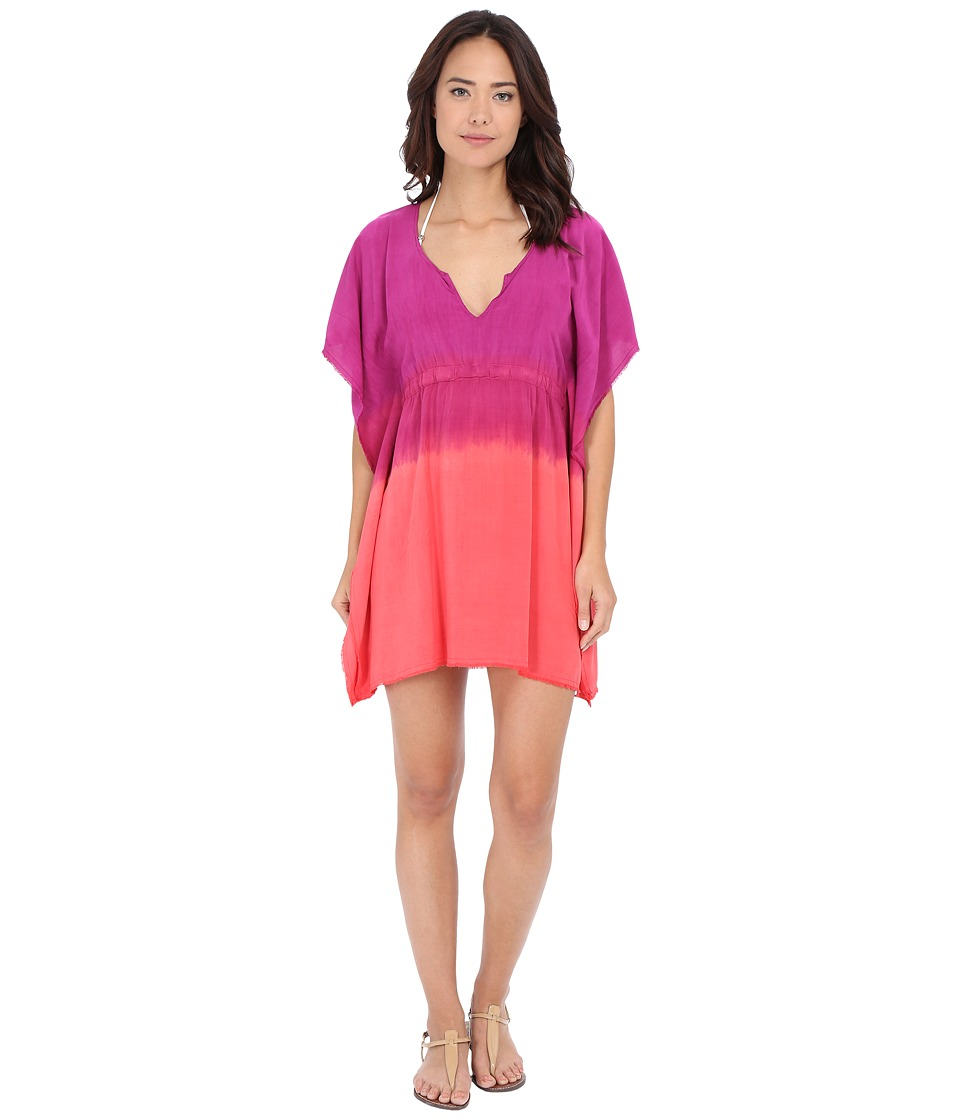 BECCA by Rebecca Virtue Sunrise Midnight Tunic Cover Up Fuchsia/Papaya Womens Swimwear