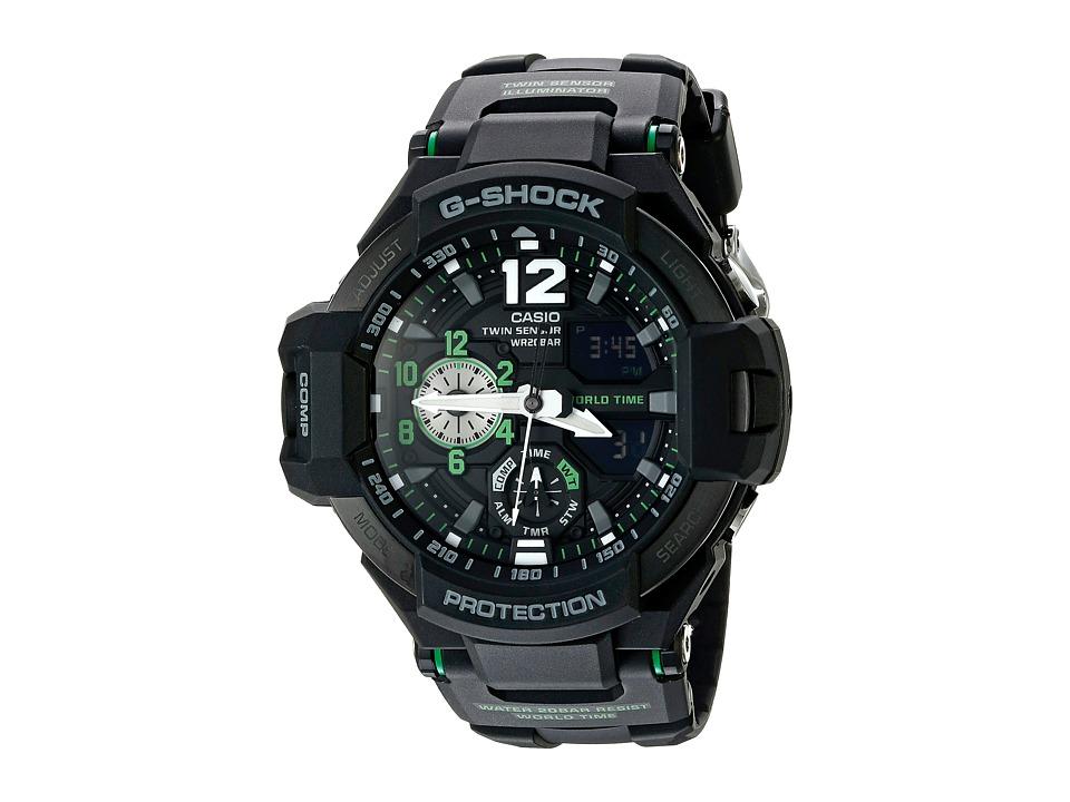 G Shock GA 1100 Black/Green Sport Watches
