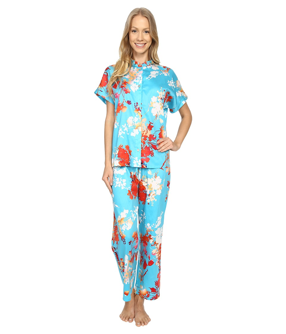 N by Natori Imperial Garden PJ Capri Blue Womens Pajama Sets