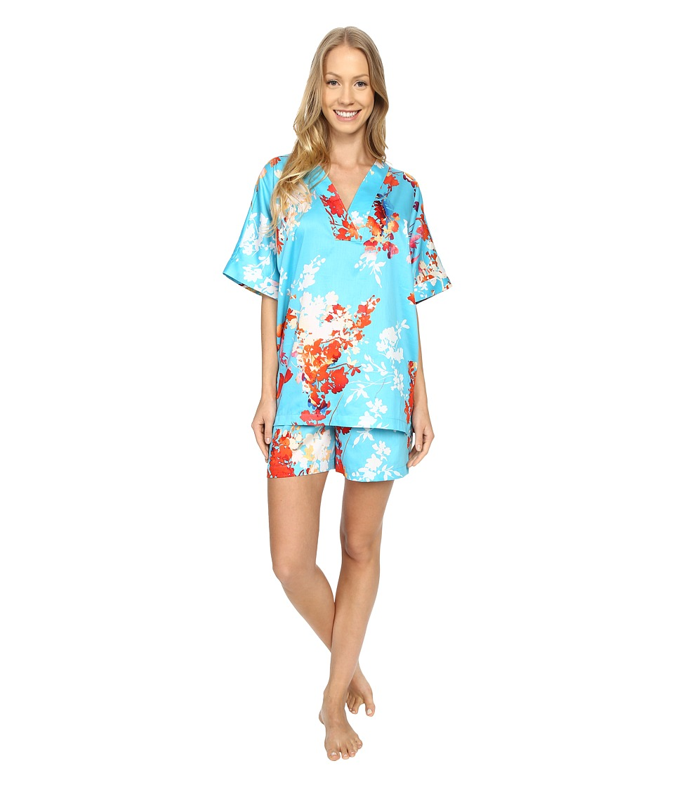 N by Natori Imperial Garden Short Set Capri Blue Womens Pajama Sets