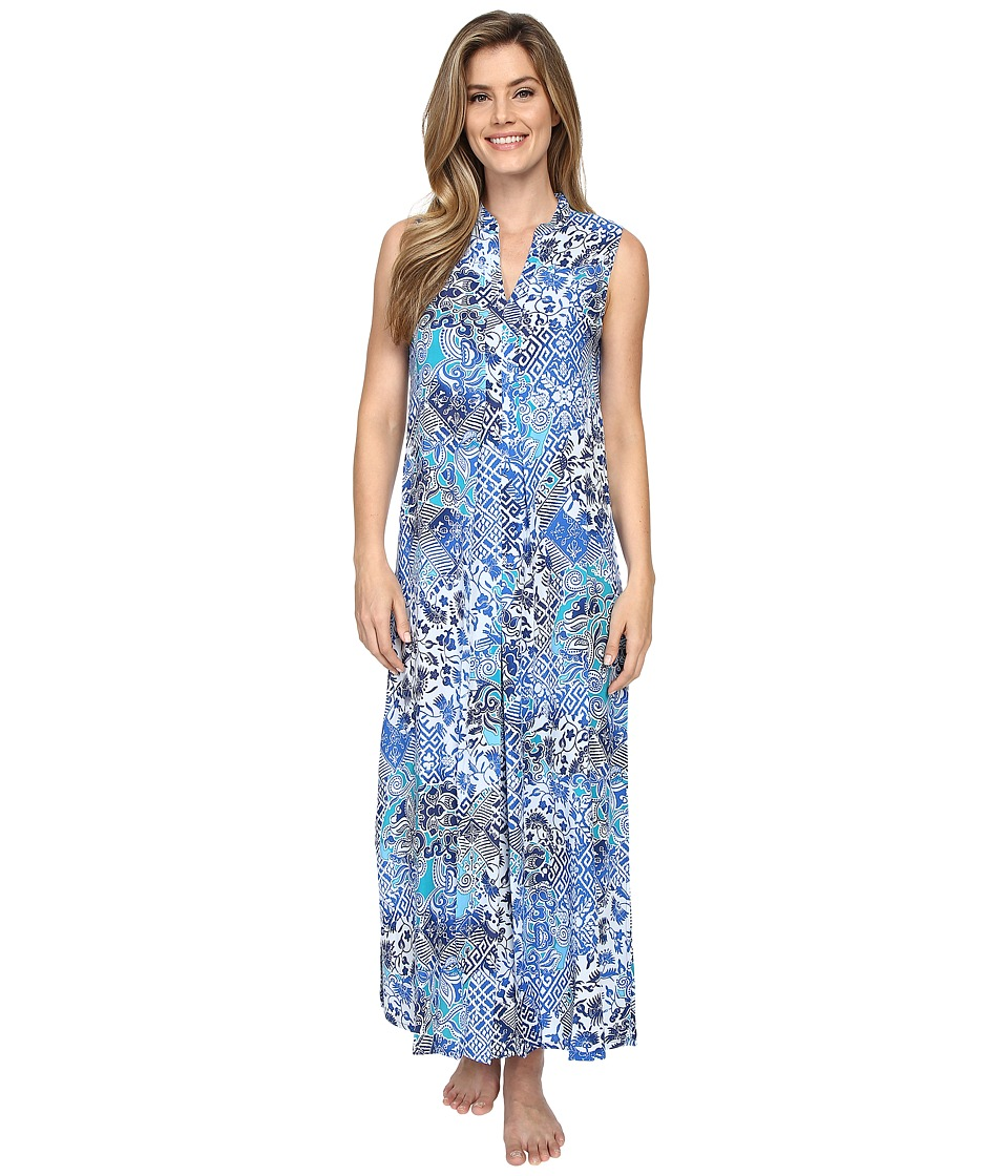 N by Natori Mosaic Meadow Gown Blue Womens Pajama