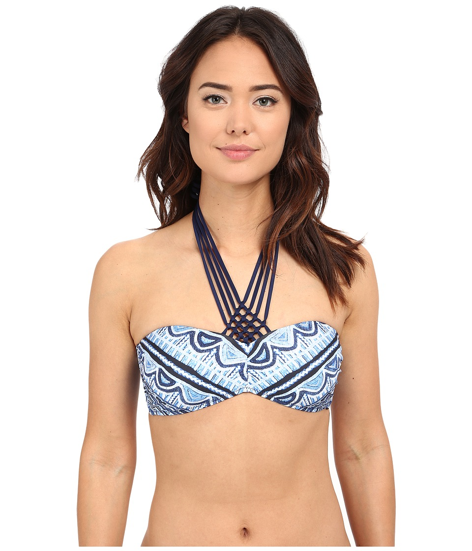 Nanette Lepore Santorini Scallop Tease Top Indigo Womens Swimwear