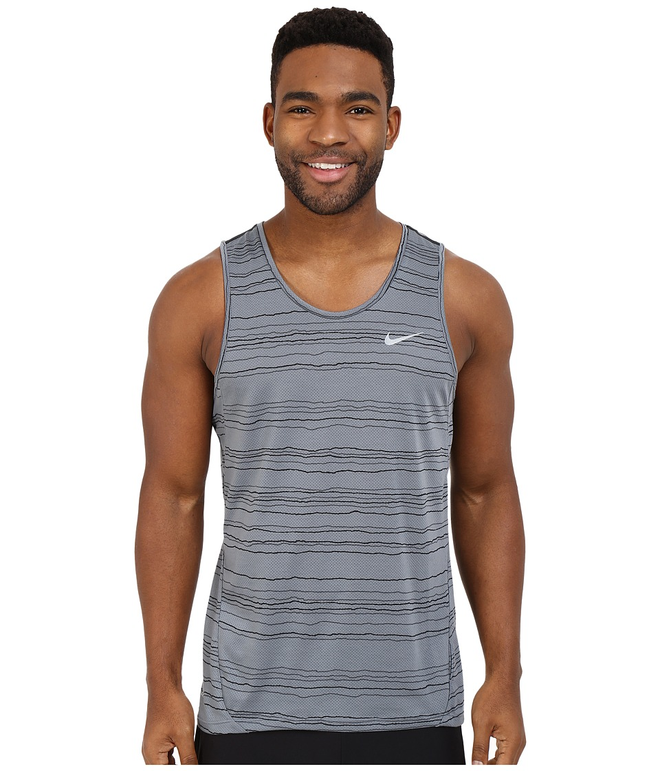 Nike Dri FIT Cool Tailwind Stripe Running Tank Top Cool Grey/Reflective Silver Mens Clothing