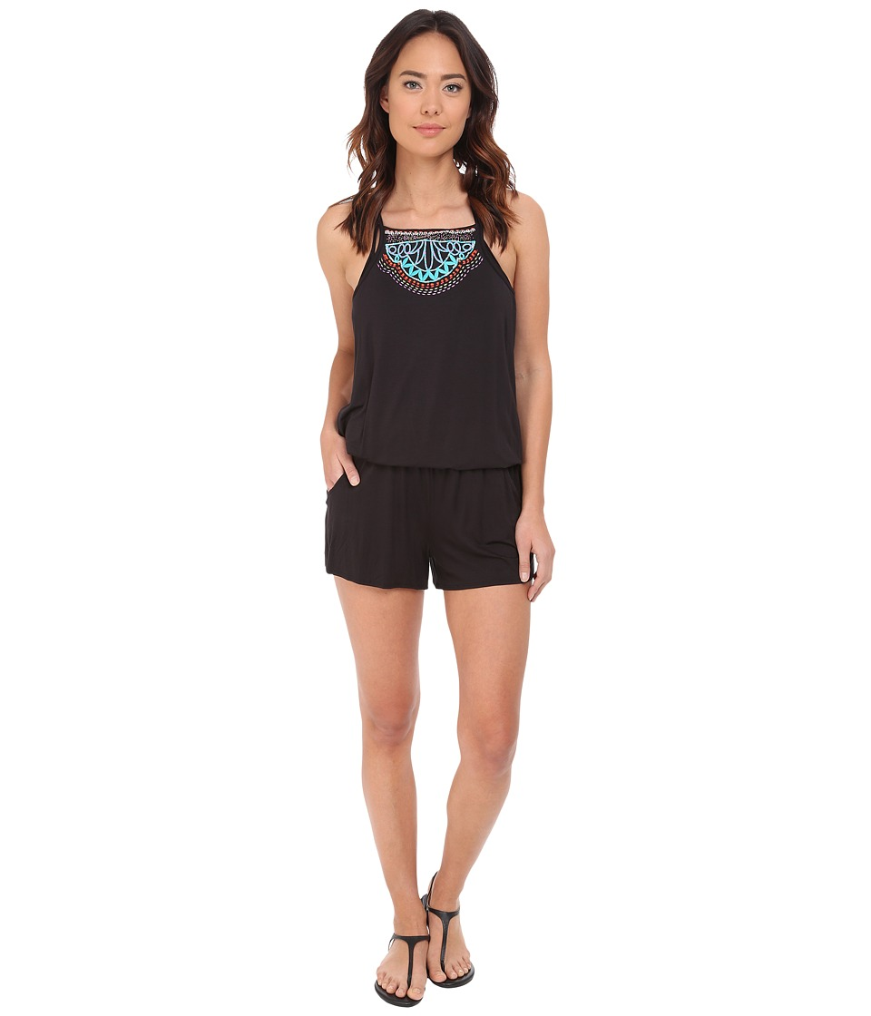 Nanette Lepore Mantra Embroidery Romper Cover Up Black Womens Jumpsuit Rompers One Piece