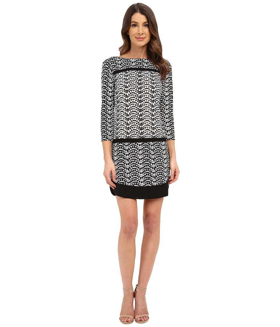 Donna Morgan 3/4 Sleeve Printed Jersey Drop Waist Shift Dress Black/Whitecap Grey Womens Dress