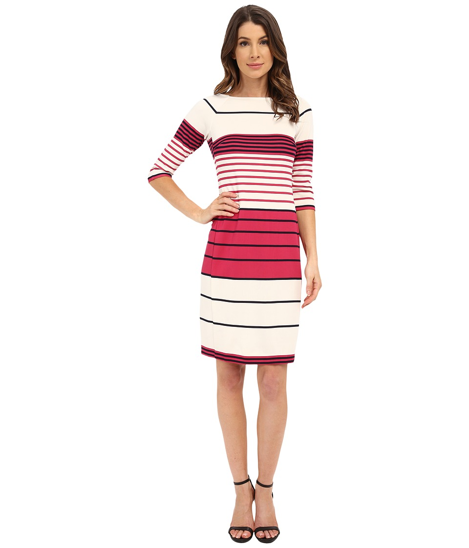 Donna Morgan 3/4 Sleeve Striped Scuba Shift Dress Currant Multi Womens Dress