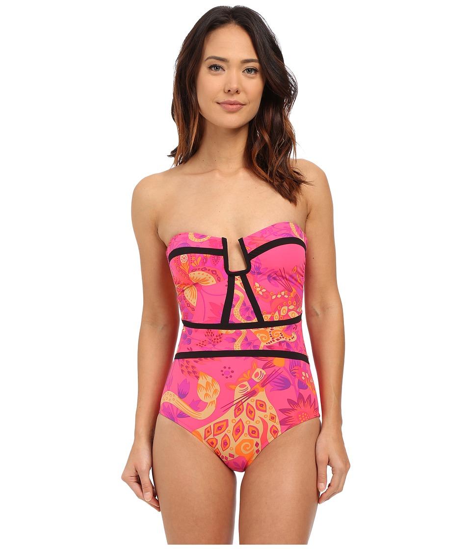 Nanette Lepore Jakarta Jaguar Seductress Reversible One Piece Raspberry Womens Swimsuits One Piece