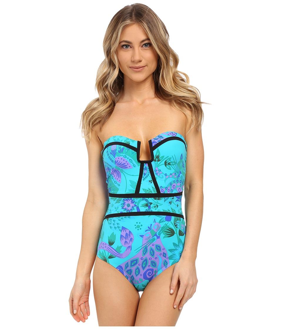Nanette Lepore Jakarta Jaguar Seductress Reversible One Piece Turquoise Womens Swimsuits One Piece