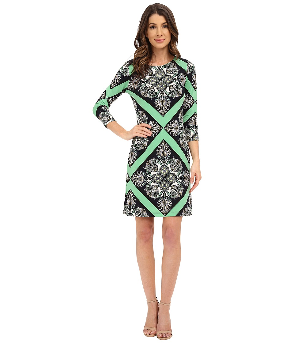 Donna Morgan 3/4 Sleeve Printed Jersey Shift Dress Chlorophyll Multi Womens Dress