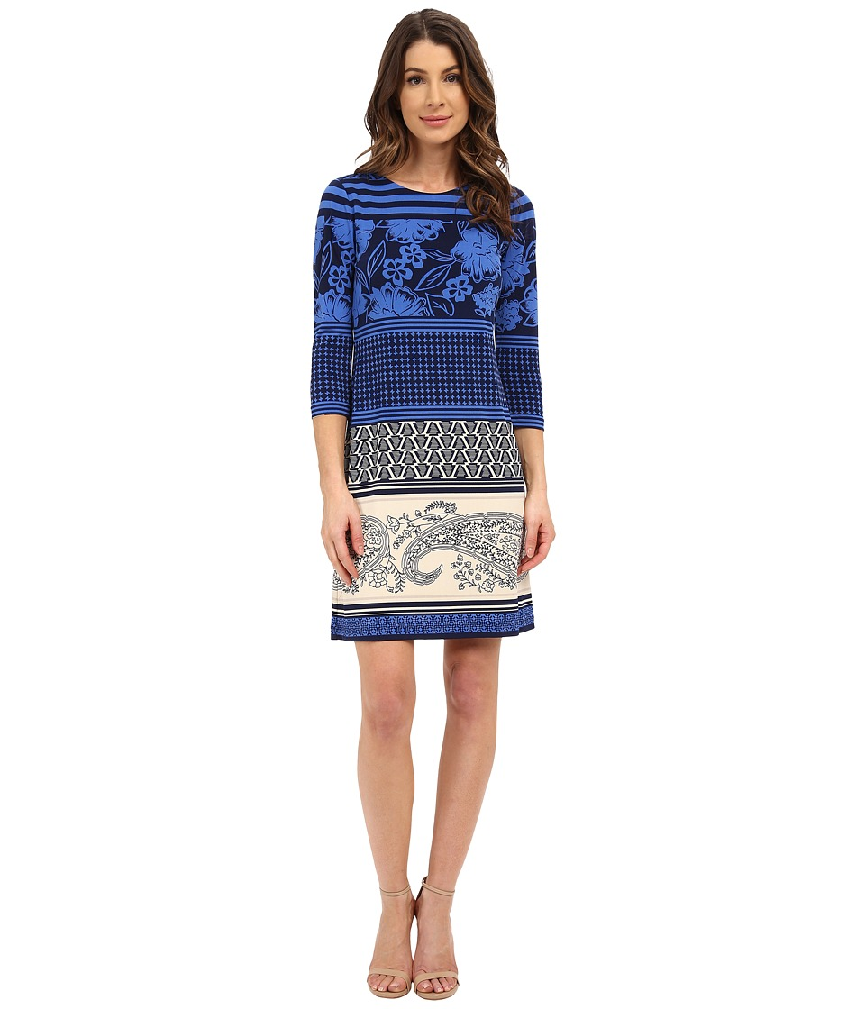 Donna Morgan 3/4 Sleeve Printed Jersey Shift Dress Cornflower Multi Womens Dress